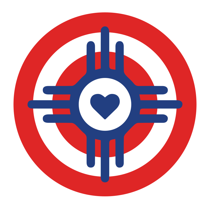 Wichita Flag Symbol Heart Sticker — Print ICT.