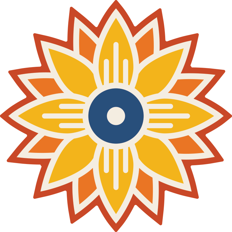 Sunflower icon with Wichita, Kansas flag symbol..