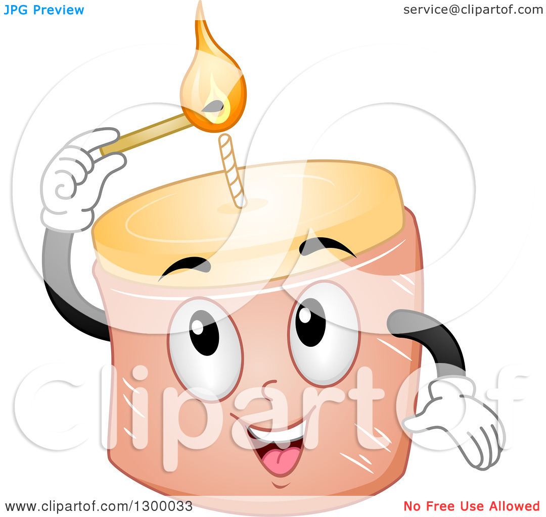 Clipart of a Cartoon Candle Character Lighting Its Wick.