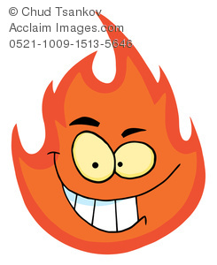 A Wicked Grinning Flame Clipart Image.