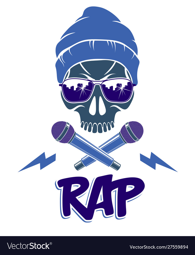 Hip hop music logo or label with wicked skull and.