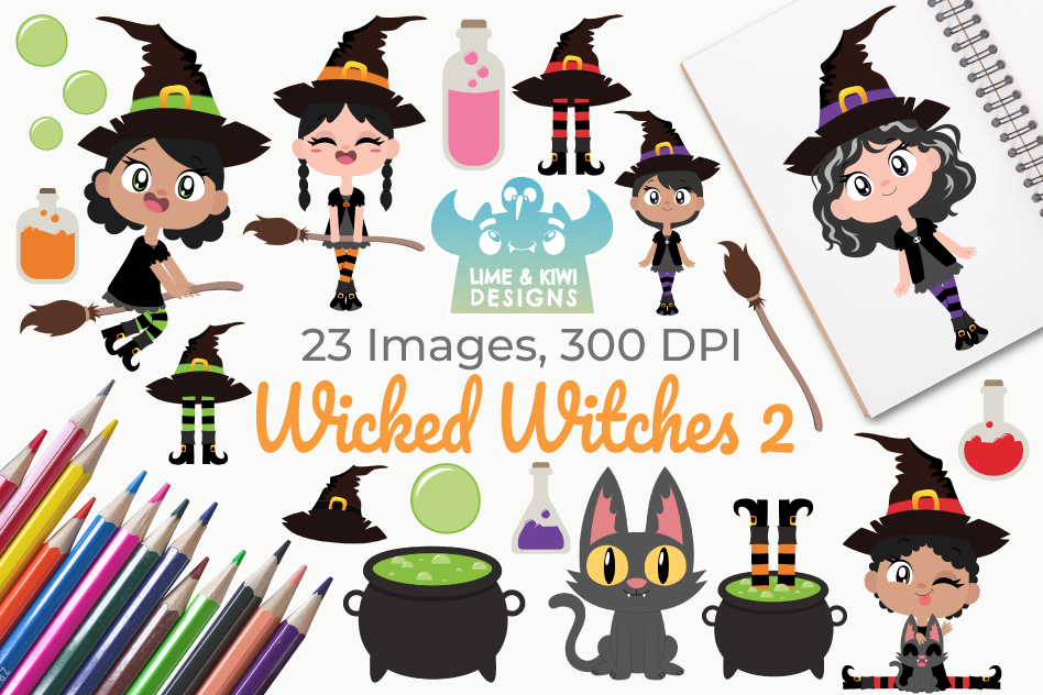 Wicked Witches 2 Clipart, Instant Download Vector Art.