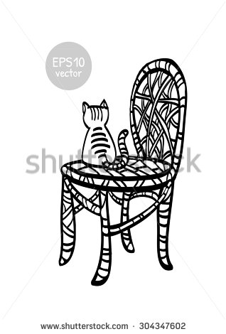 Cat under the chair clipart black and white.