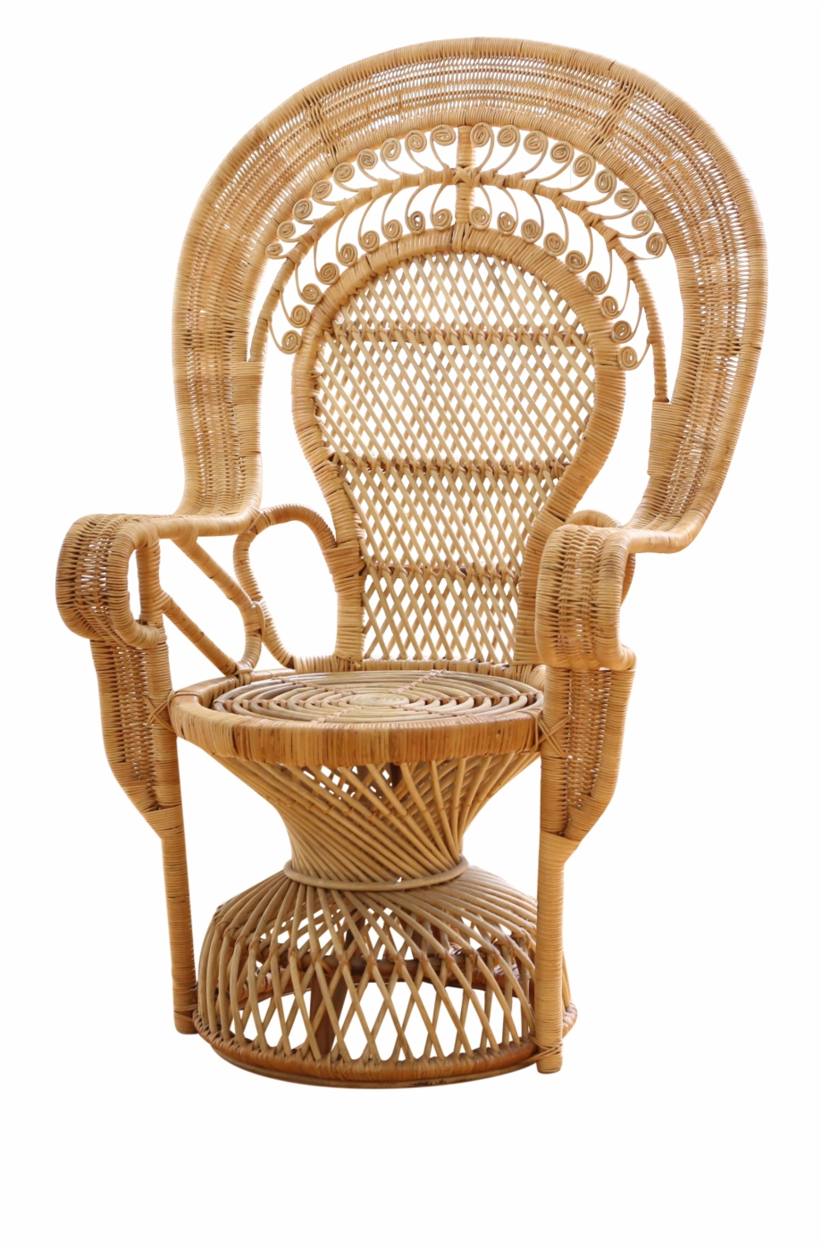 Vintage Rattan And Wicker Peacock Chair On Chairish.