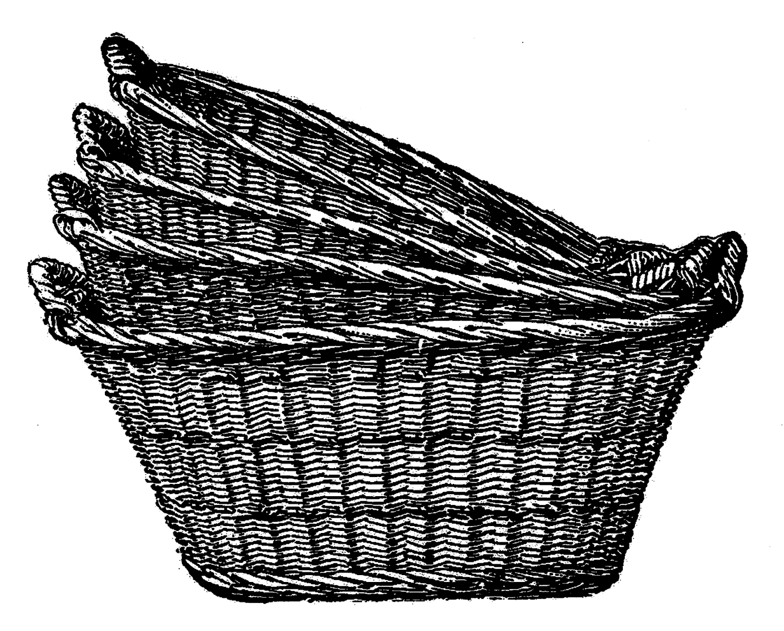 Antique Images: Digital Clip Art of 4 Wicker Laundry Baskets Image.