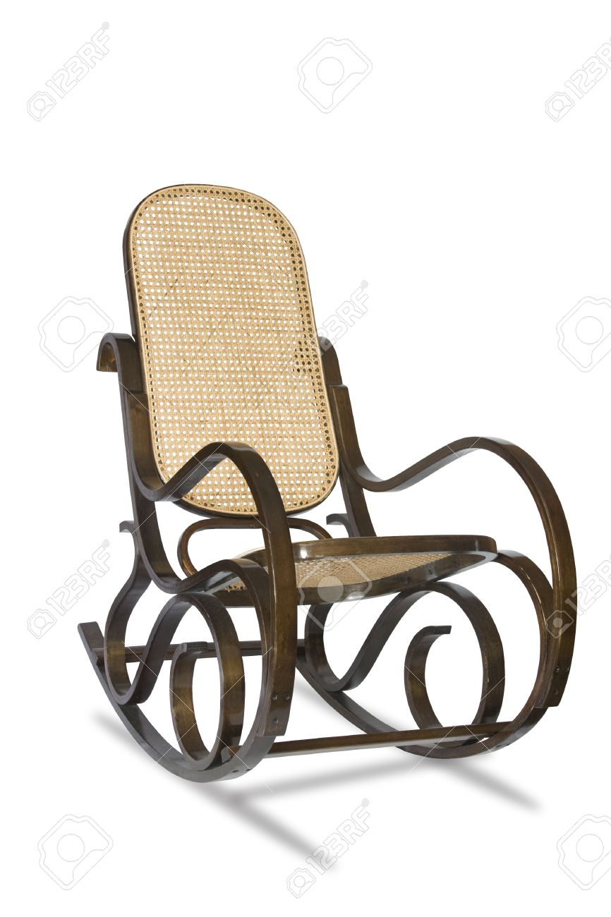 Nice Vintage Wicker Rocking Chair Isolated On White Background.