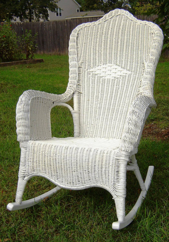 Vintage White Wicker Rocking Chair by seasidefurnitureshop on Etsy.