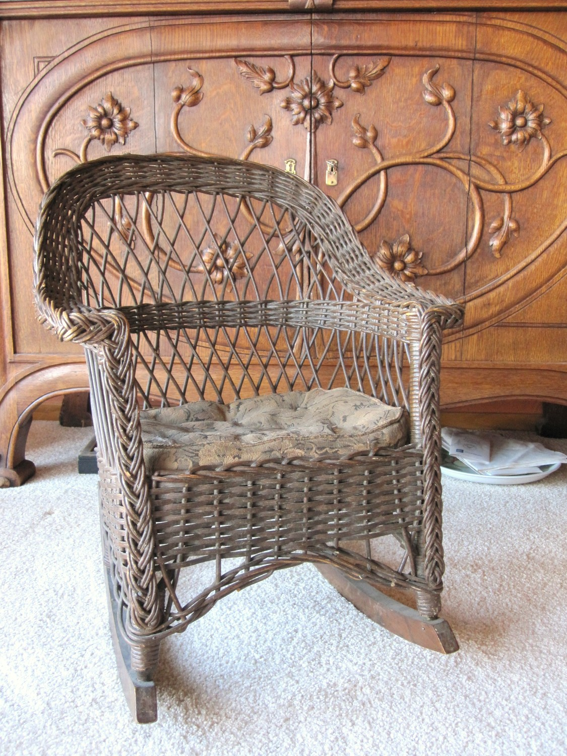 Antique Wicker Rocking Chair Child's Rocking by AmeliaRoseVintage.