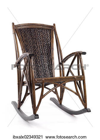 Stock Photography of Antique bamboo wicker rocking chair.