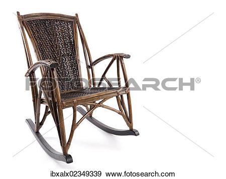 Stock Photograph of Antique bamboo wicker rocking chair.