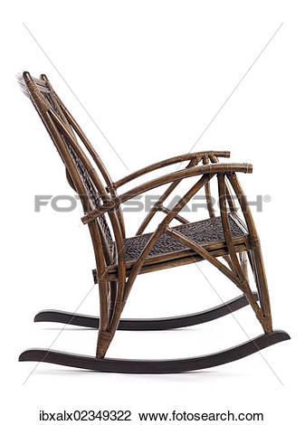 Stock Photo of Antique bamboo wicker rocking chair ibxalx02349322.