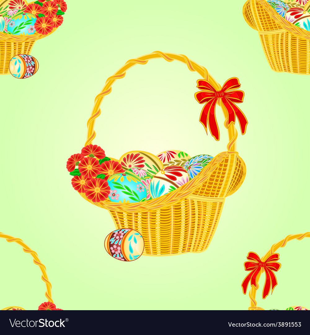 Seamless texture wicker basket and easter eggs.