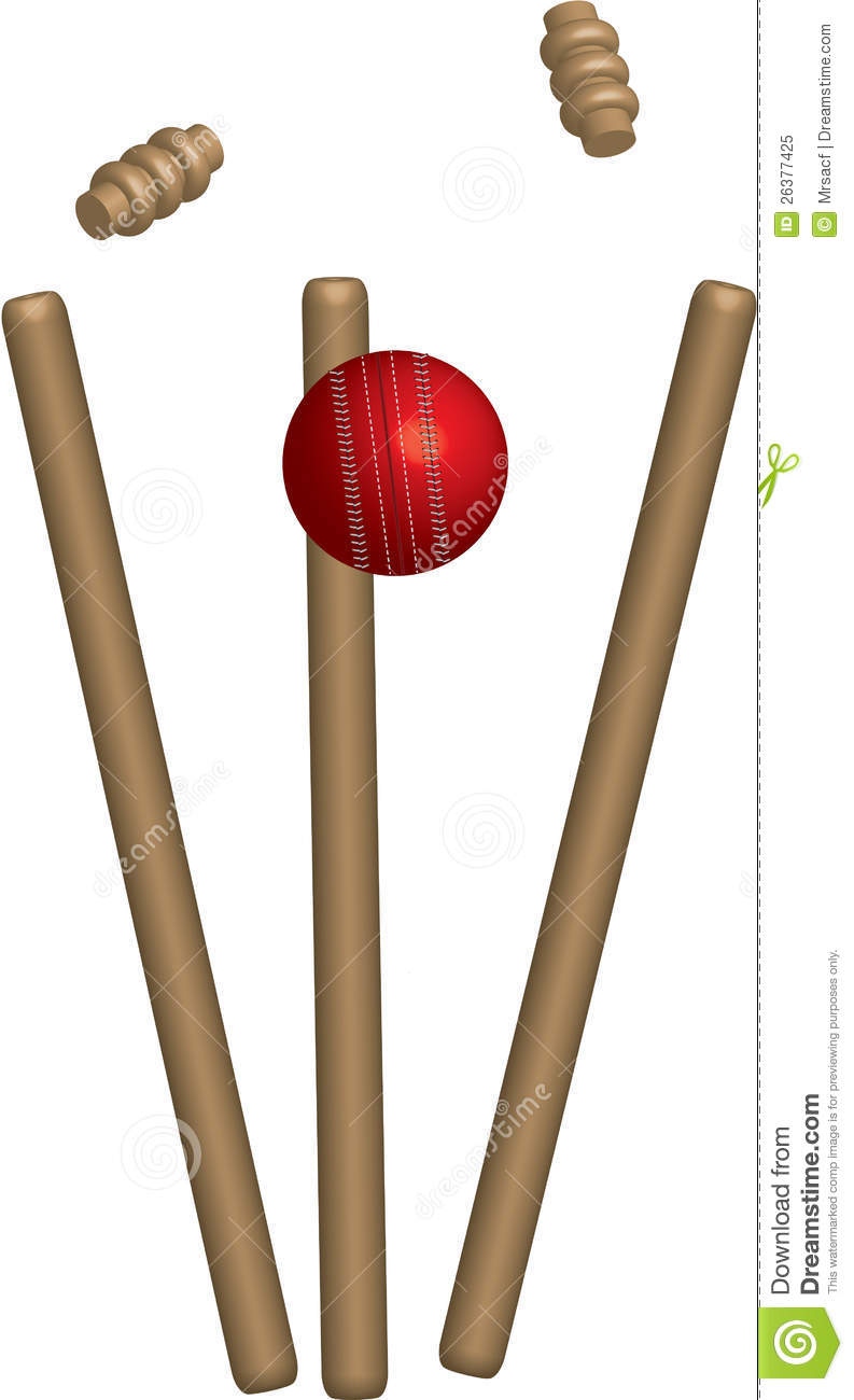 Cricket Ball Hitting Wickets Royalty Free Stock Photo.