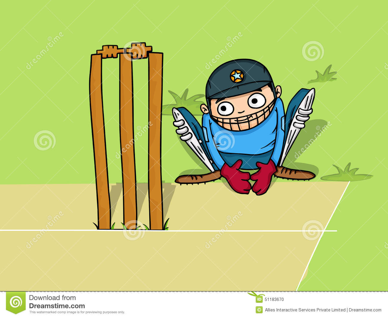 Wicket Keeper For Cricket Sports Concept. Stock Illustration.