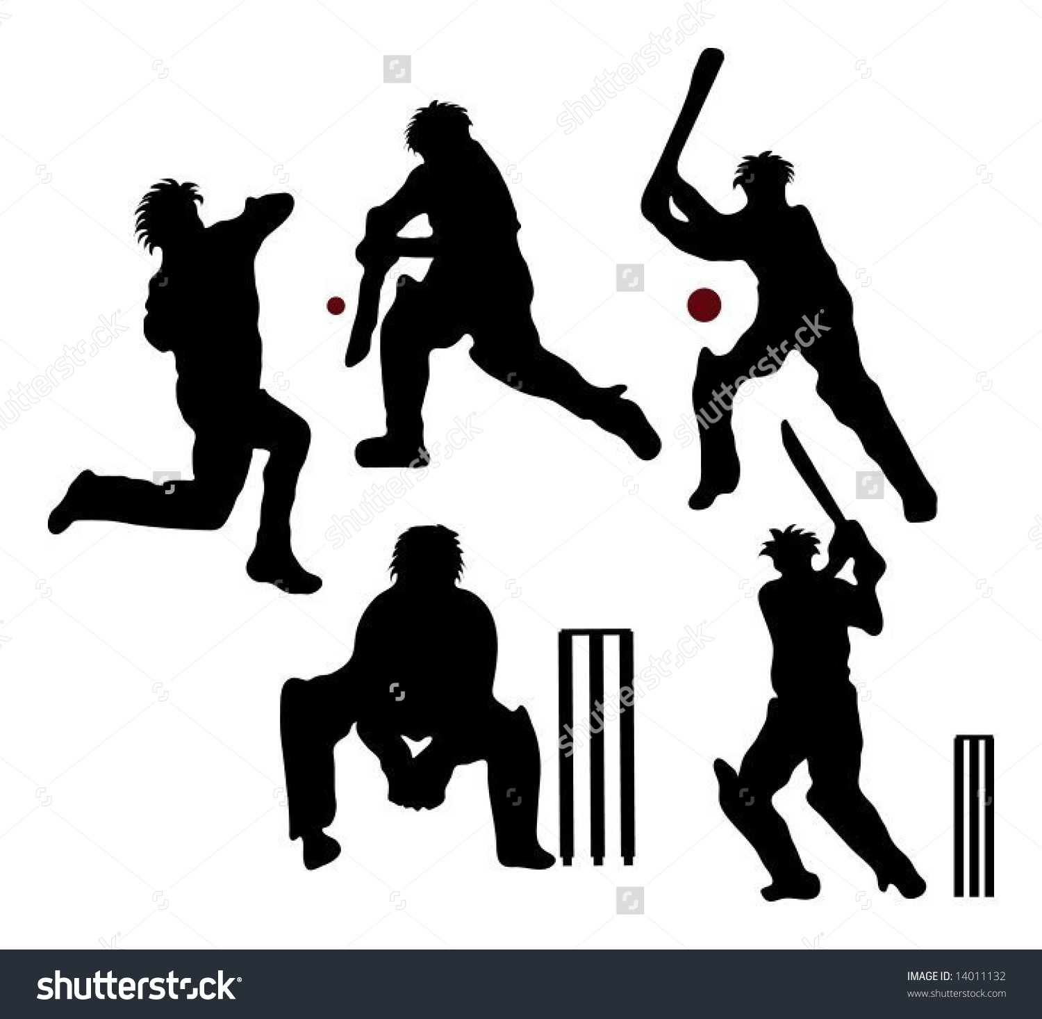 Cricket Silhouettes Stock Vector 14011132.