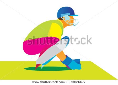 Cricket Batsman Catches The Ball Stock Vector Illustration.