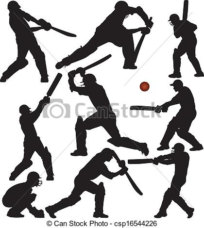Vector Illustration of Cricket game silhouettes set. Layered and.
