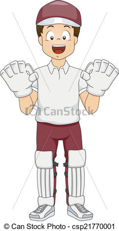 Vector Clipart of Cricket Wicket Keeper.