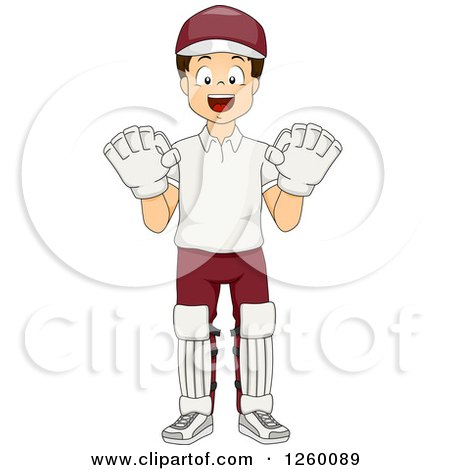 Clipart of a Cricket Wicket Keeper Boy.