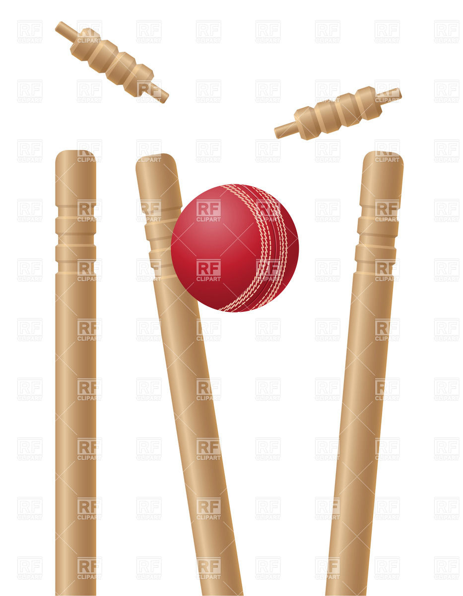 Cricet wickets and ball Vector Image #20962.