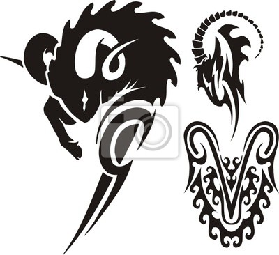 Photo The ram and mountain goat. Tribal clipart. #22116571.