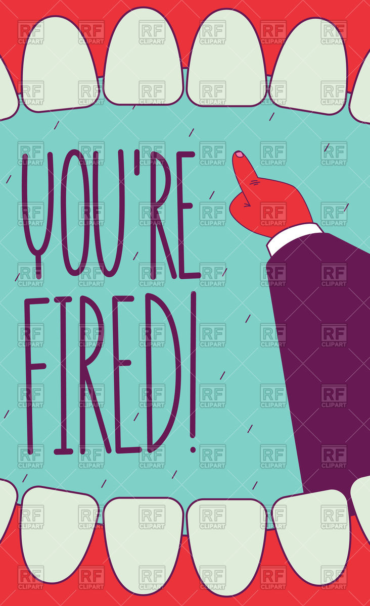 You are fired! Open screaming mouth and pointing hand. Subject.