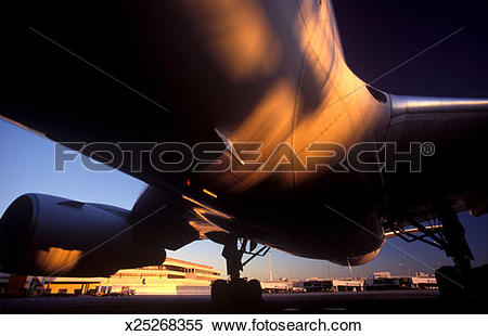 Stock Image of Bottom of airplane, wide.