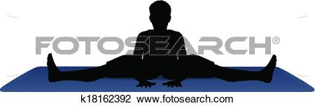 Clipart of vector illustration of Yoga positions in Wide Angle.