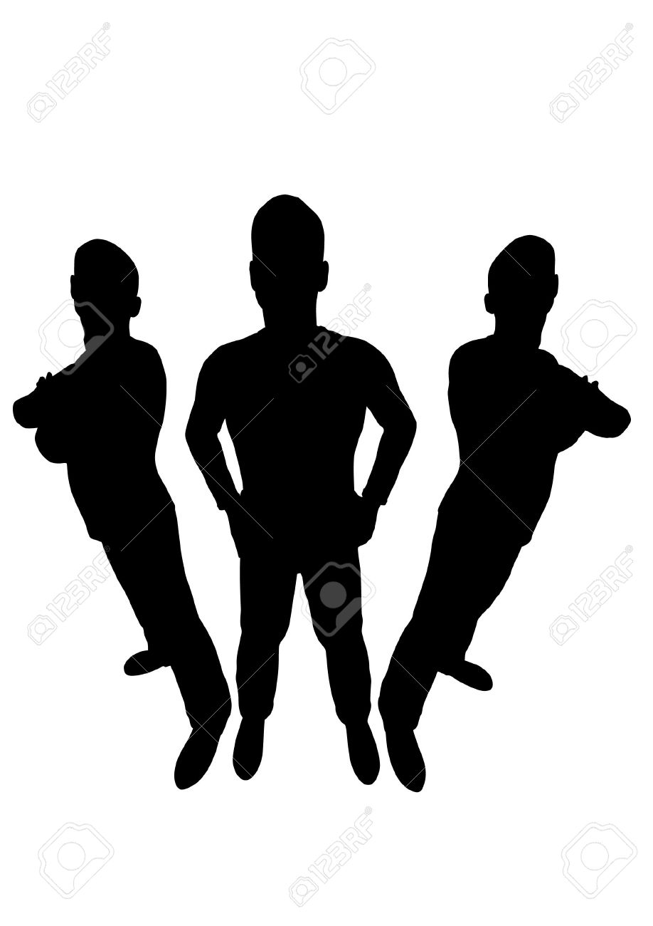 Three Men Silhouette Wide Angle Royalty Free Cliparts, Vectors.