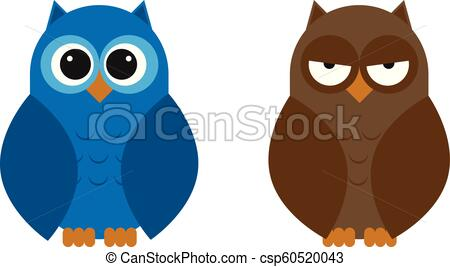 Rounded Owl Set illustration for children.
