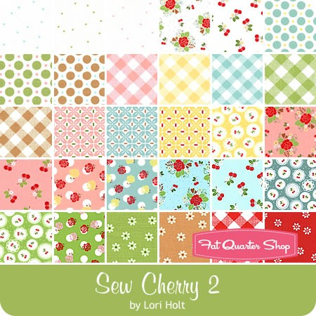"Sew Cherry 2 2.5"" Rolie Polie Lori Holt for Riley Blake Designs."
