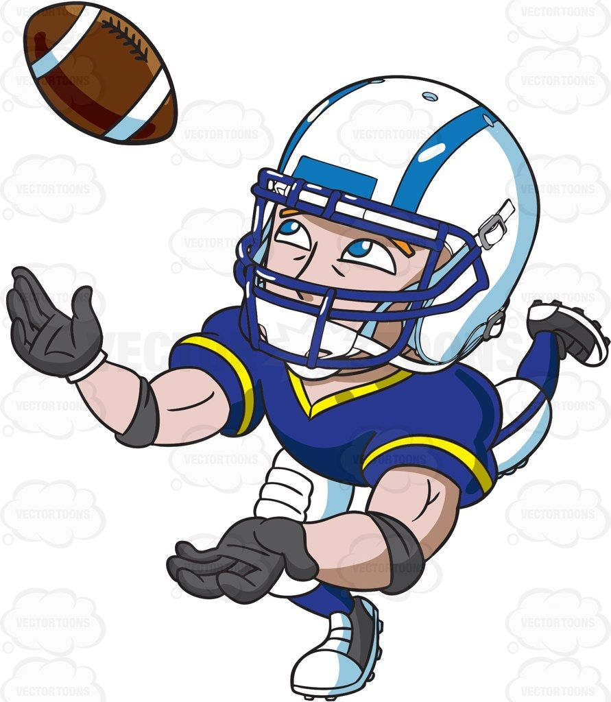 A football wide receiver catching the ball #cartoon #clipart #vector.