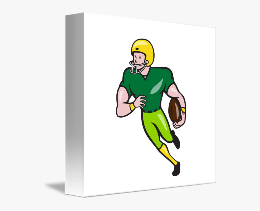 American Football Receiver Running Isolated Cartoo.