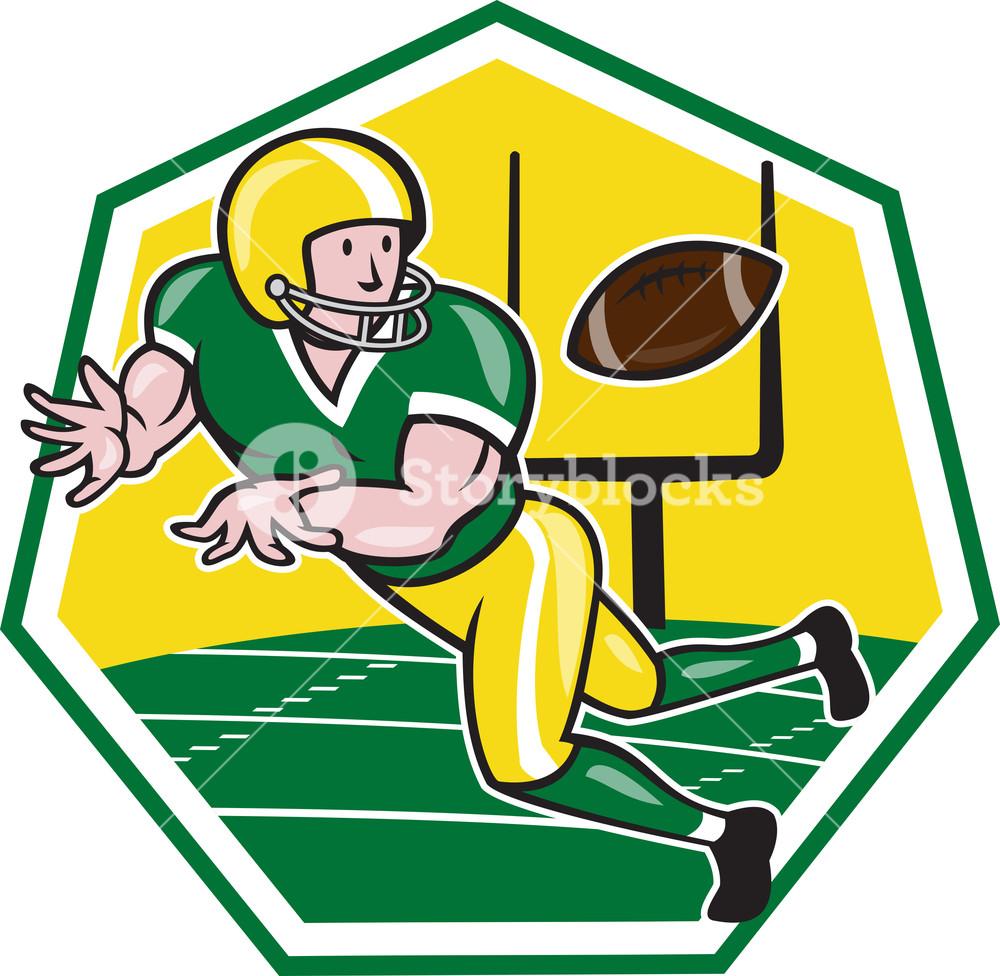 American Football Wide Receiver Catching Ball Cartoon.
