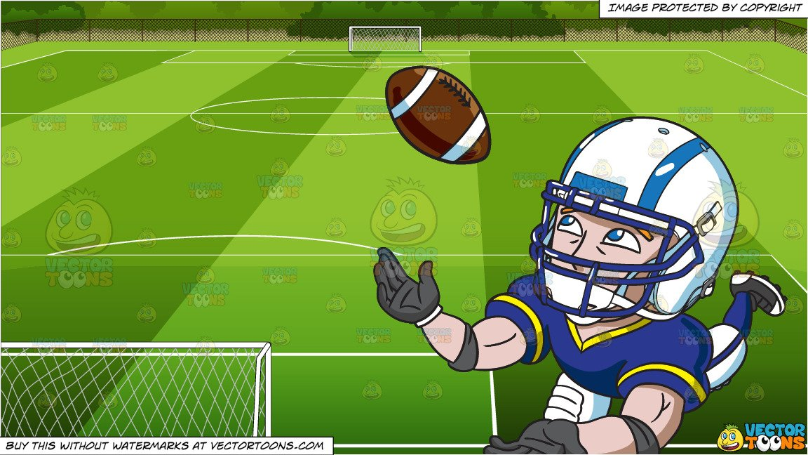 A Football Wide Receiver Catching The Ball and Soccer Field Background.