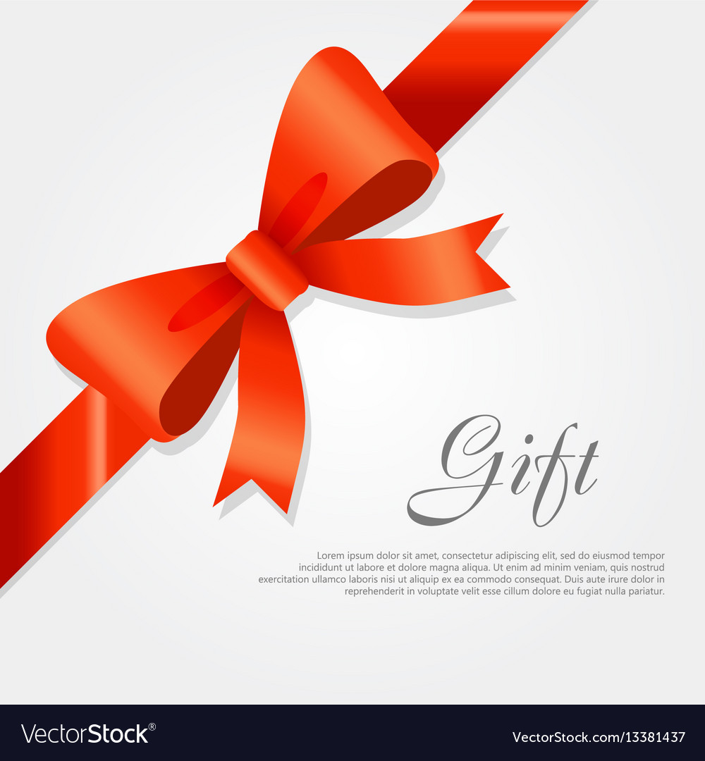 Gift red wide ribbon bright bow with two petals.