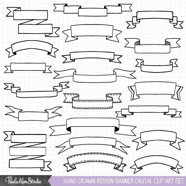 Hand Drawn Banner Clipart, Ribbon Banner Clip Art.