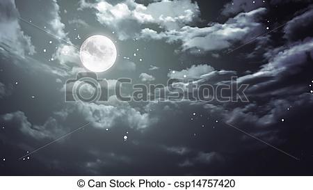 Clip Art of Halloween moon and dark sky wide.