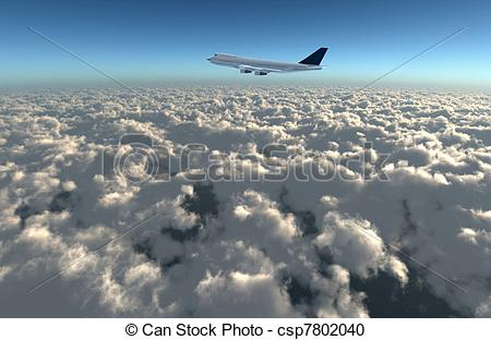 Stock Photography of wide sky airplane.