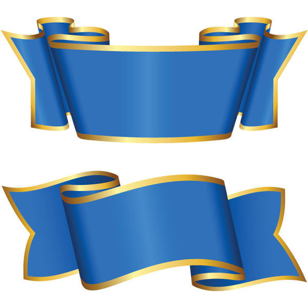 2 Gold Trimmed Blue Ribbon Banners Set wide vector ribbon.