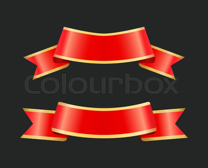 Ribbon red banners designed for text.