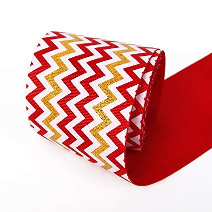 Grosgrain Ribbon Glitter Chevron Swirls Waves Pattern Ribbon 3\
