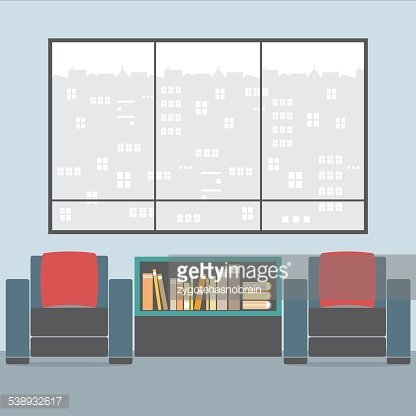 Sofas With Bookcase In Front Of Wide Glass Window Clipart.