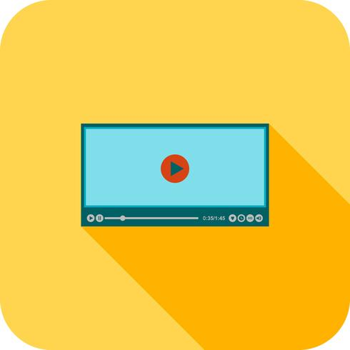 Video Player Flat Long Shadow Icon.
