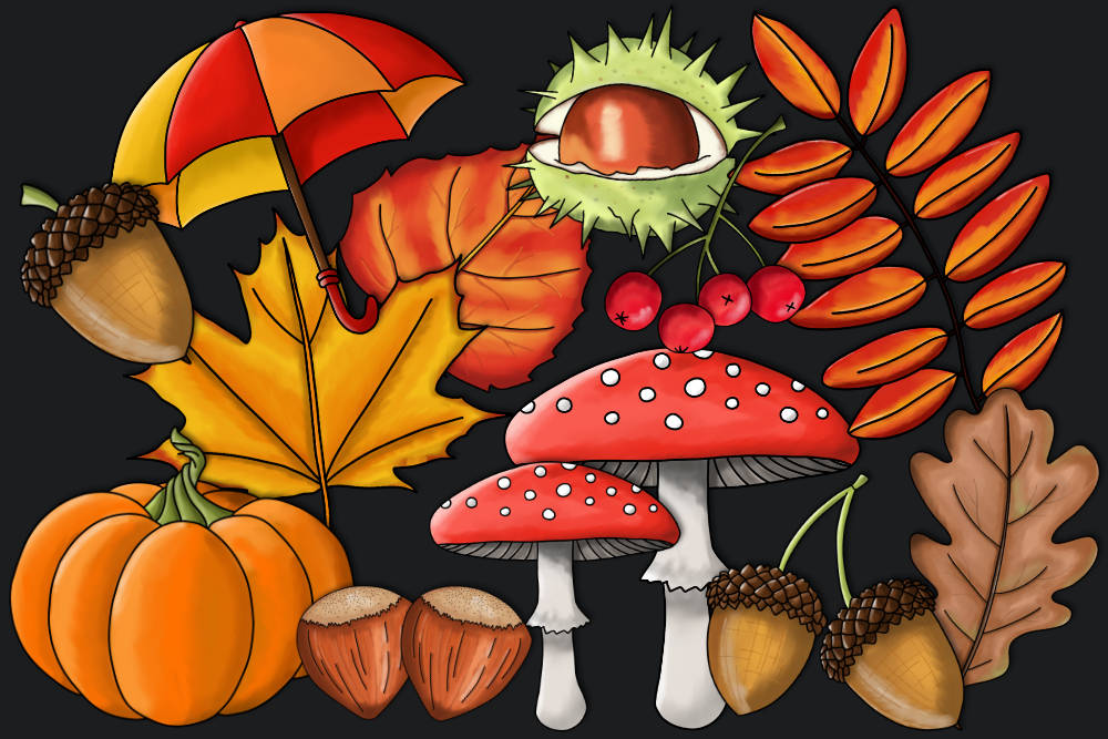 Tolles Herbst Clipart Paket.