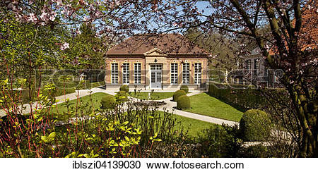 Stock Photography of Rheda Castle, orangery in the palace garden.