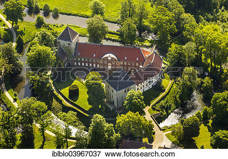 """Picture of """"Aerial view, Schloss Rheda Castle, moated castle."""