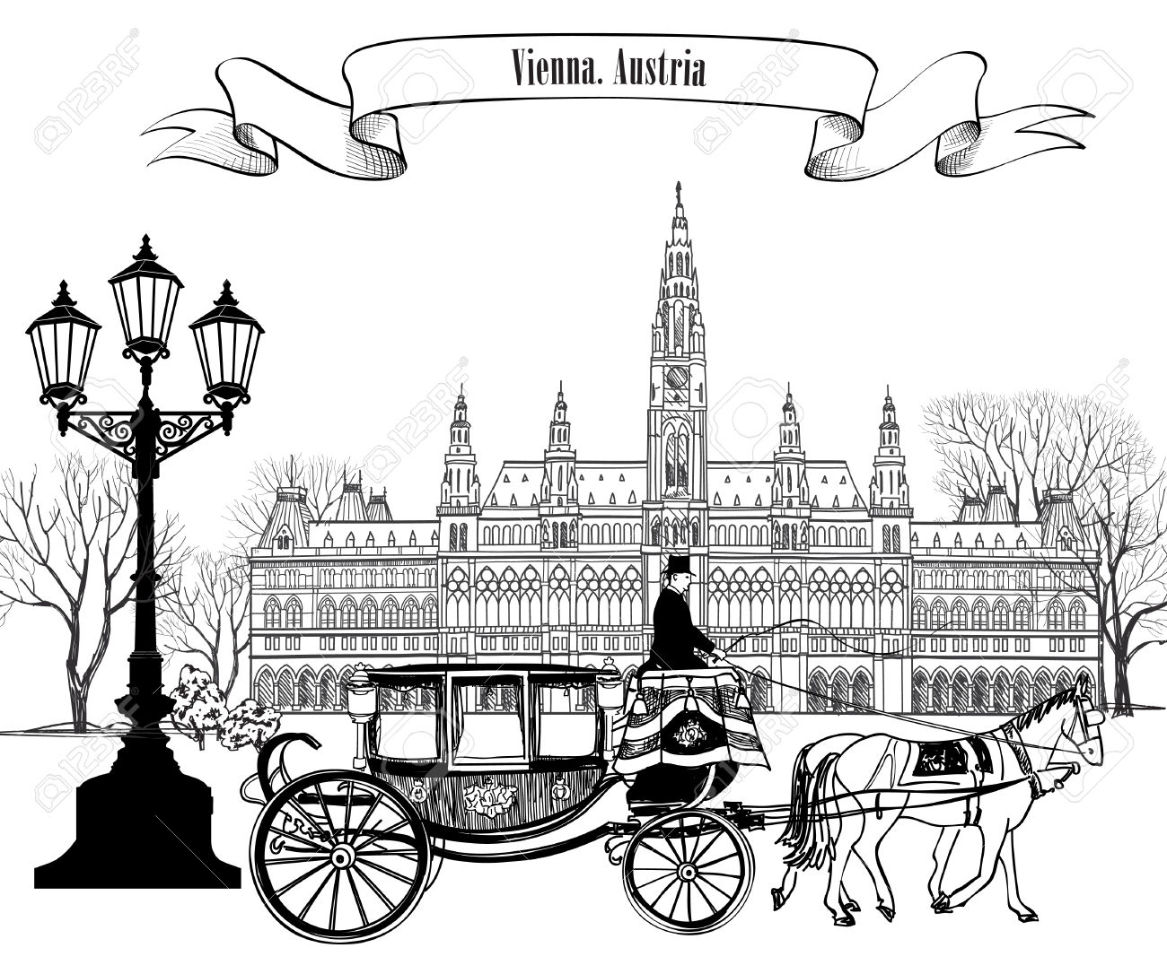 Wien City View With Rathaus And Carriage. Vienna Street. Travel.