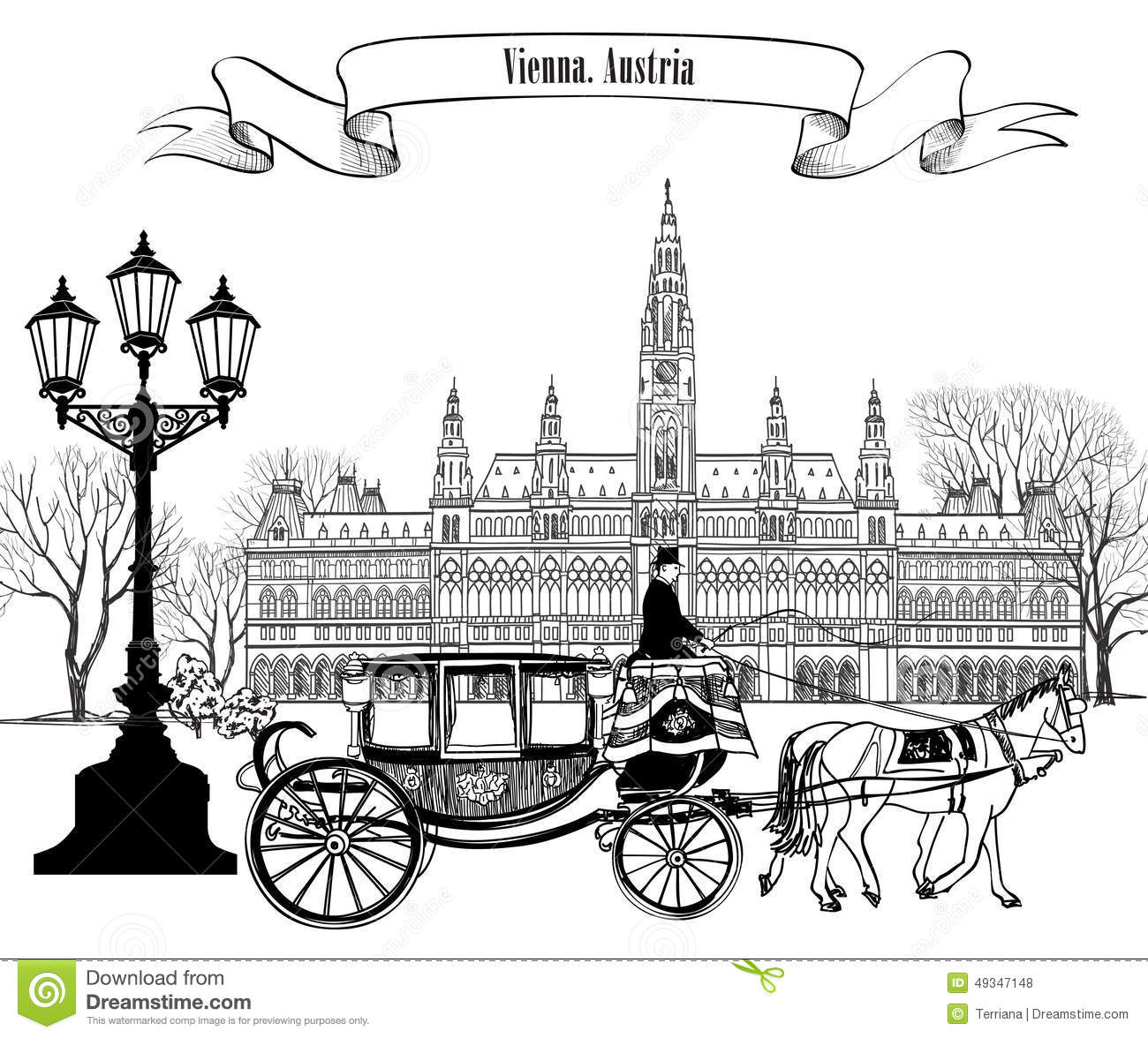 Wien City Street View With Rathaus And Carriage. Stock.
