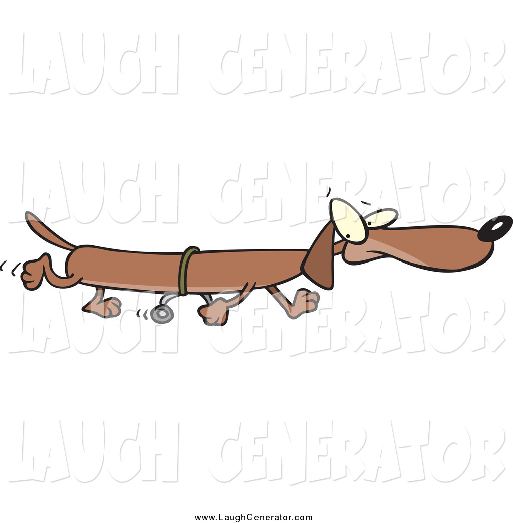 Humorous Clip Art of a Long Wiener Dog Using Training Wheels by.
